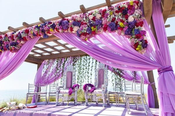 Ceremony Decor In Rancho Palos Verdes Indian Fusion Wedding By Andrena Photography