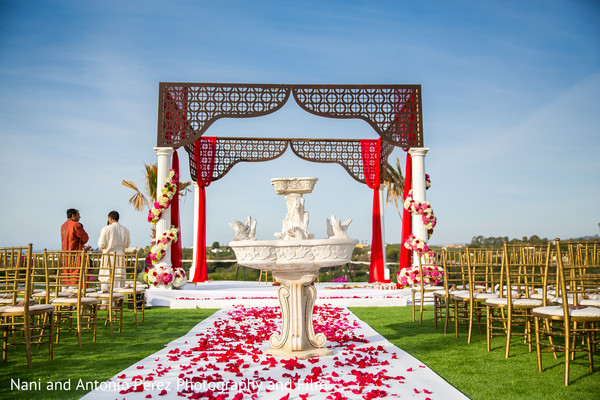Outdoor Mandap in Spain Destination Indian Wedding by Nani de Perez Photography & Films