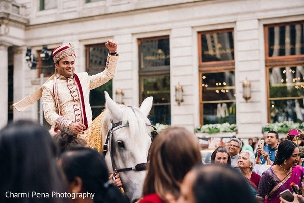 Baraat in New York, NY Indian Wedding by Charmi Pena Photography