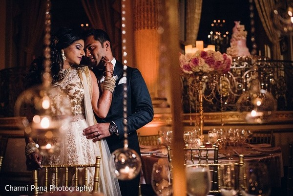 Reception Portrait in New York, NY Indian Wedding by Charmi Pena Photography