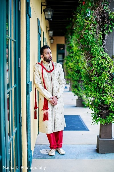 Groom Portrait in Sonoma, CA Indian Wedding by Nadia D. Photography
