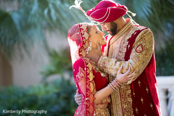 First Look in Sarasota, FL Indian Fusion Wedding by Kimberly Photography
