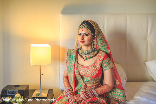 Bridal Portrait in New Brunswick, NJ Indian Wedding by Manish and Sung Photography