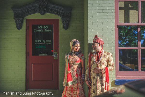 First Look in New Brunswick, NJ Indian Wedding by Manish and Sung Photography