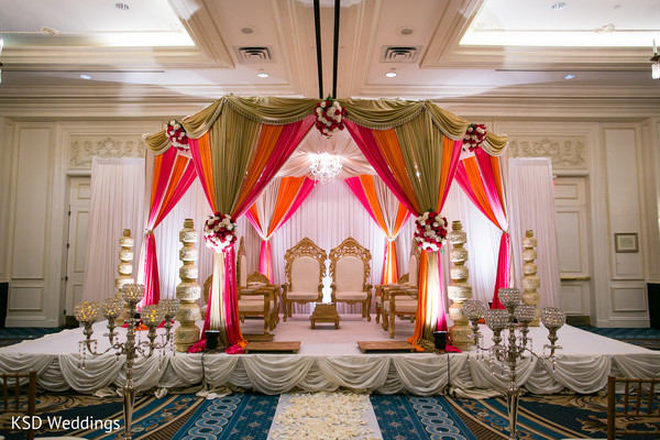 Indoor Mandap in Woodcliff Lake, NJ Indian Wedding by KSD Weddings