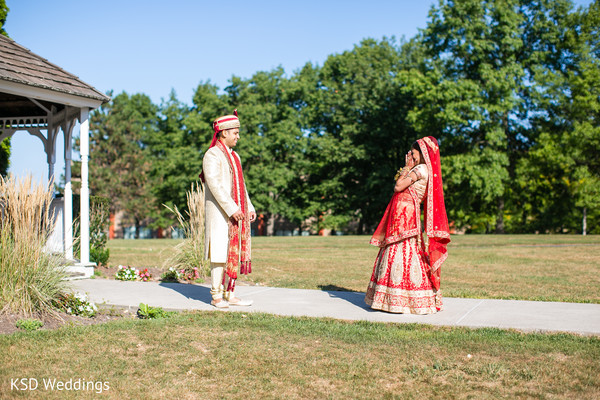 First Look Portraits in Woodcliff Lake, NJ Indian Wedding by KSD Weddings