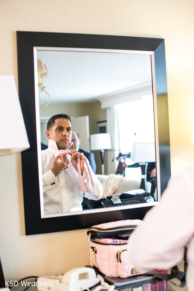 Groom Getting Ready for Reception in Woodcliff Lake, NJ Indian Wedding by KSD Weddings