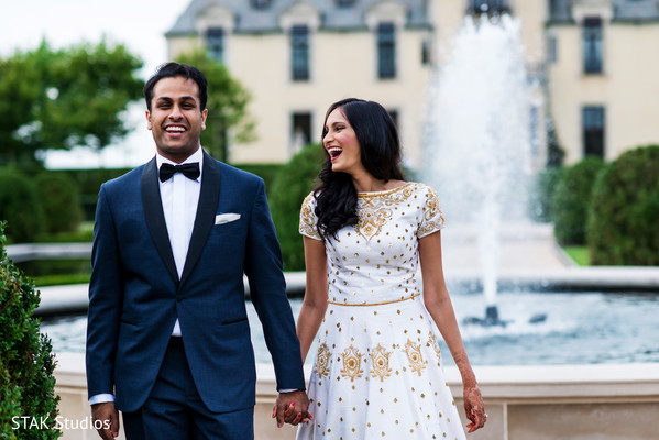 Reception Portrait in Huntington, New York Indian Wedding by STAK Studios