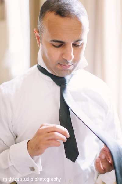 Groom Getting Ready in Milwaukee, WI Indian Fusion Wedding by m three studio photography