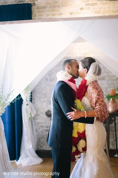 Ceremony in Milwaukee, WI Indian Fusion Wedding by m three studio photography