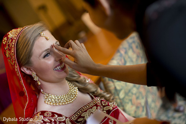 Getting Ready in Lake Geneva, WI Indian Fusion Wedding by Dybala Studio