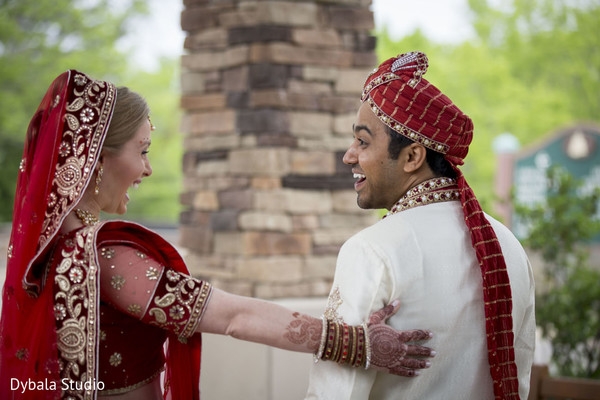 First Look in Lake Geneva, WI Indian Fusion Wedding by Dybala Studio