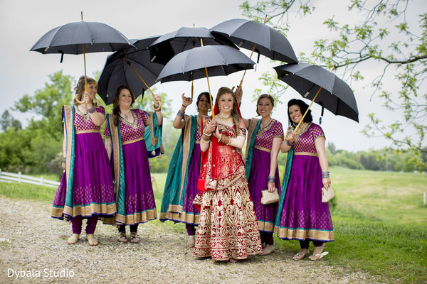 Bridal Party in Lake Geneva, WI Indian Fusion Wedding by Dybala Studio