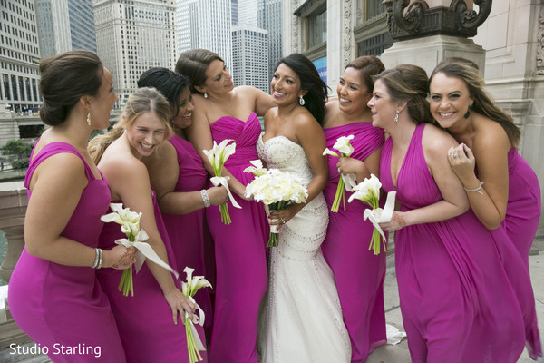 Bridesmaids Portraits in Chicago, IL Fusion Wedding Wedding by Studio Starling