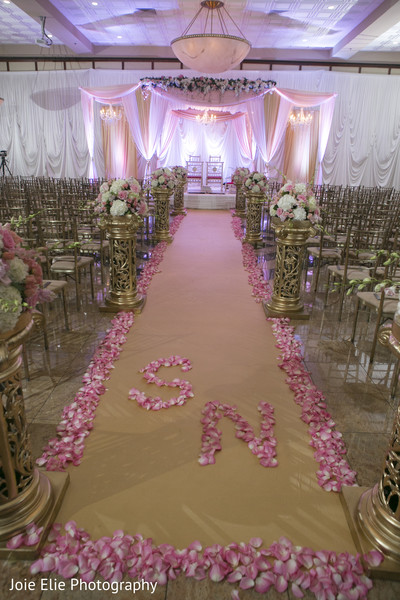 Ceremony Aisle Decor in Freehold, NJ Indian Wedding by Joie Elie Photography & Cinematography