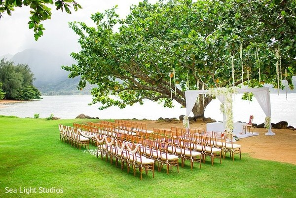 Ceremony Decor in Kauai, HI Indian Destination Wedding by Sea Light Studios