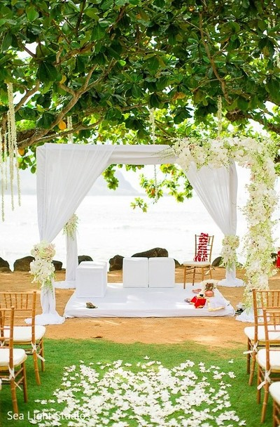 Mandap in Kauai, HI Indian Destination Wedding by Sea Light Studios