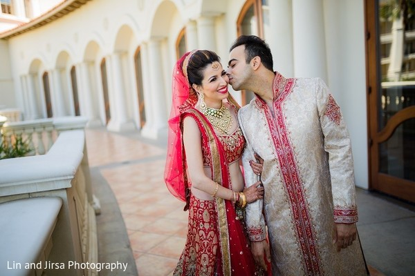 First Look in Dana Point, CA Indian Wedding by Lin & Jirsa Photography