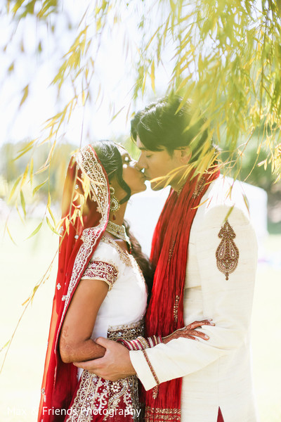 First Look in Malibu, CA Indian Wedding by Max & Friends Photography