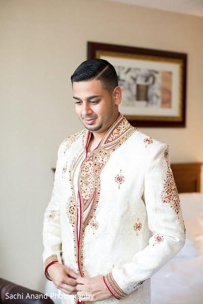 Groom Getting Ready in Somerset, NJ  Indian Wedding by Sachi Anand Photography