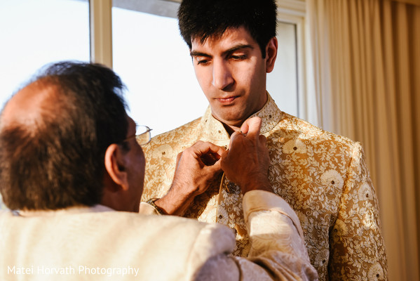 Groom Getting Ready in Huntington Beach, CA Indian Wedding by Matei Horvath Photography
