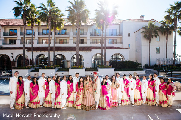 Bridal Party Portraits in Huntington Beach, CA Indian Wedding by Matei Horvath Photography