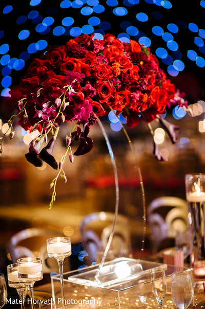 Centerpieces in Huntington Beach, CA Indian Wedding by Matei Horvath Photography