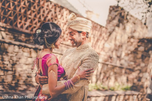 First Look in Austin, TX Indian Wedding by Ushna Khan Photography