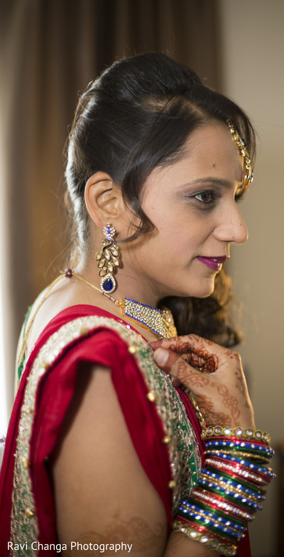 Bride Getting Ready for Sangeet in Edison, NJ Indian Wedding by Ravi Changa Photography