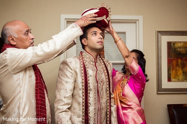 Groom Getting Ready in Grand Rapids, MI Indian Wedding by Making the Moment