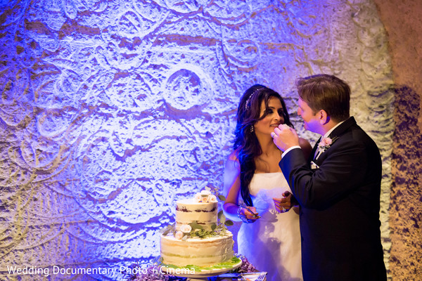 Cutting the Cake in Pleasanton, CA Fusion Wedding by Wedding Documentary Photo + Cinema