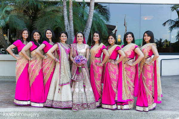 Bridal Party in Costa Mesa, CA Indian Wedding by RANDERYimagery