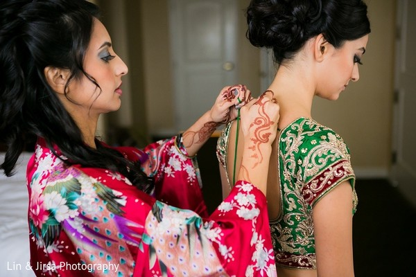 Getting Ready in Huntington Beach, CA Indian Wedding by Lin & Jirsa Photography