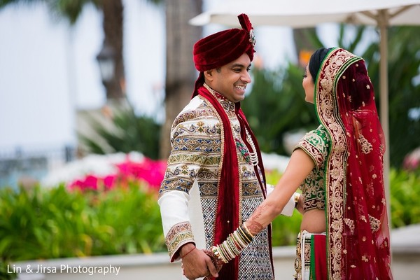 First Look in Huntington Beach, CA Indian Wedding by Lin & Jirsa Photography