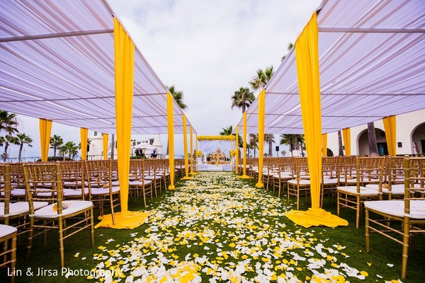 Ceremony Decor in Huntington Beach, CA Indian Wedding by Lin & Jirsa Photography