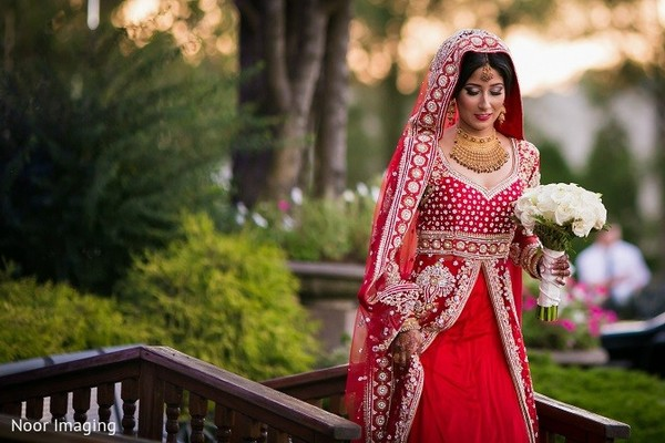 Bridal Portrait in Bethpage, NY South Asian Wedding by Noor Imaging