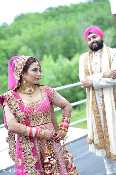 First Look in Woodbury, NY Sikh Wedding by Vaaho Photographers