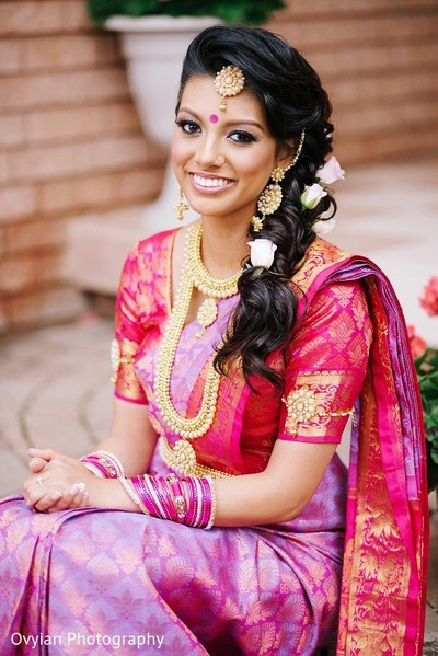 Bridal Portrait in Toronto, Canada South Indian Fusion Wedding by Ovyian Photography
