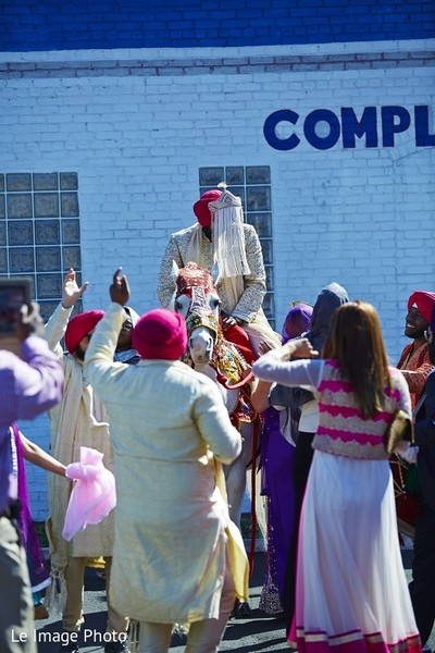 Baraat in Douglaston, NY Sikh Fusion Wedding by Le Image Photo