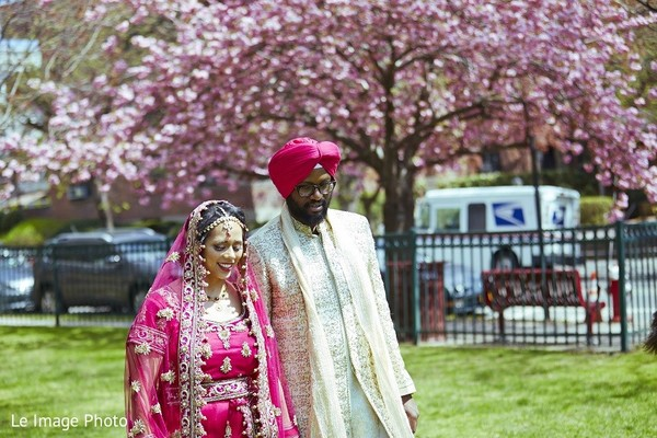 First Look in Douglaston, NY Sikh Fusion Wedding by Le Image Photo