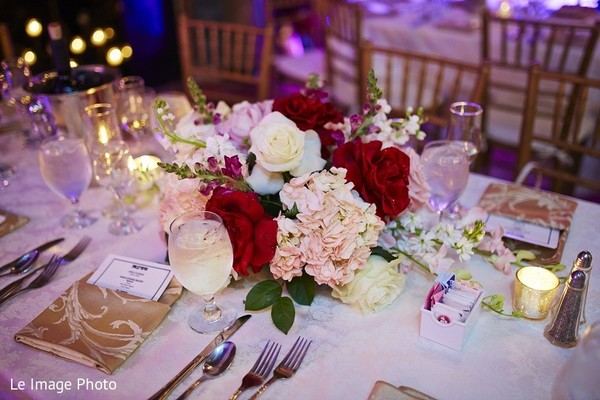 Centerpiece in Douglaston, NY Sikh Fusion Wedding by Le Image Photo