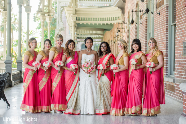 Bridal Party in Tampa, FL South Indian Fusion Wedding by Life's Highlights