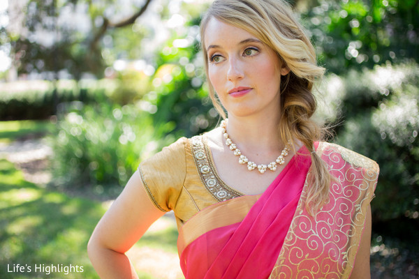 Sari Details in Tampa, FL South Indian Fusion Wedding by Life's Highlights