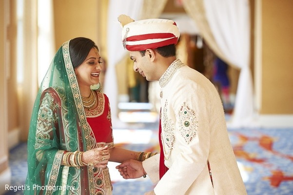 First Look in Norfolk, VA Hindu Fusion Wedding by Regeti's Photography