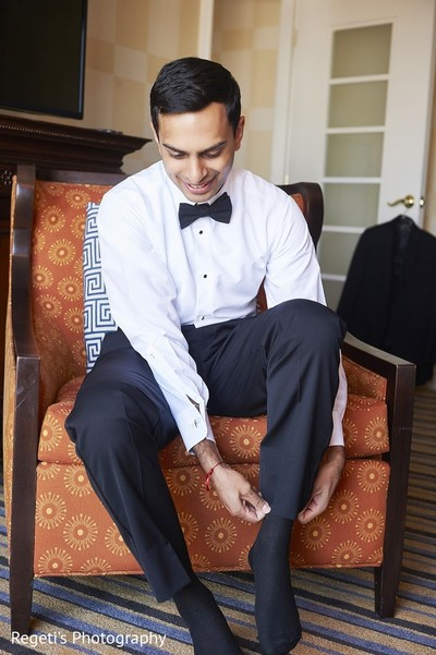 Groom Getting Ready in Norfolk, VA Hindu Fusion Wedding by Regeti's Photography
