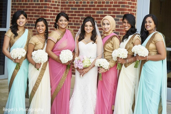 Bridal Party in Norfolk, VA Hindu Fusion Wedding by Regeti's Photography