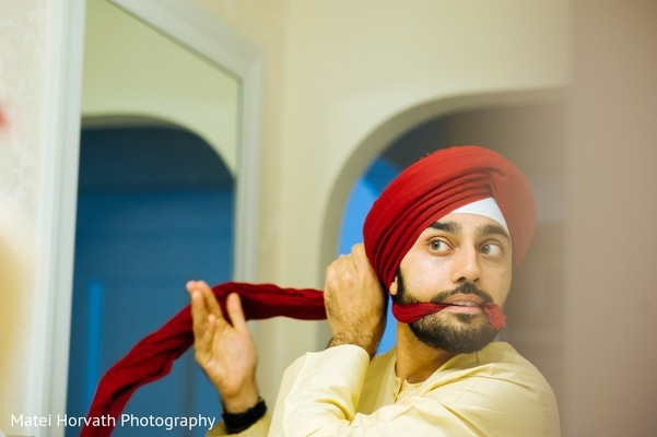 Groom Getting Ready in San Jose, CA Sikh Wedding by Matei Horvath Photography