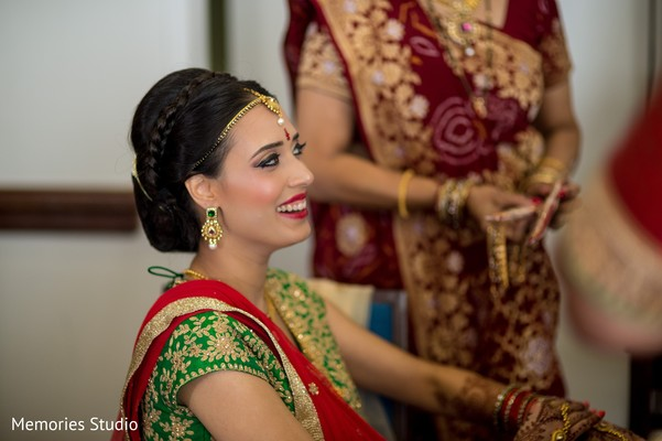 Bride Getting Ready in Long Branch, NJ Indian Wedding by Memories Studio