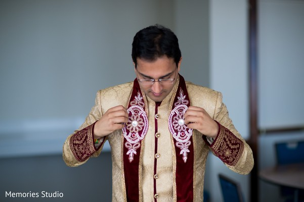 Groom Getting Ready in Long Branch, NJ Indian Wedding by Memories Studio