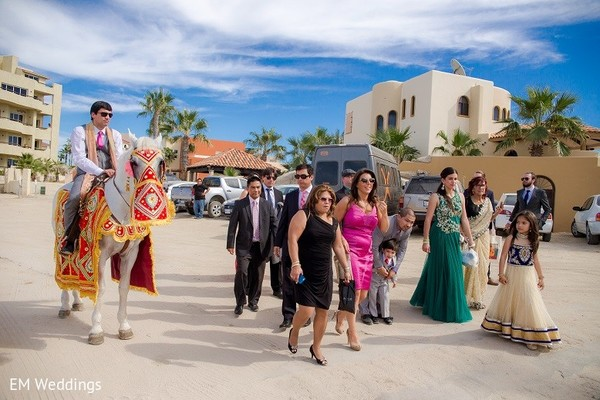 Baraat in Los Cabos, Mexico Indian Fusion Destination Wedding by EM Weddings